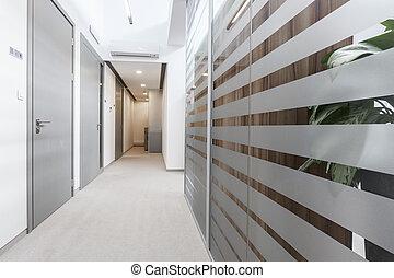 Empty passageway in business office