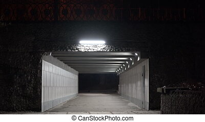 Empty pedestrian underpass tunnel passage under the bridge at night.