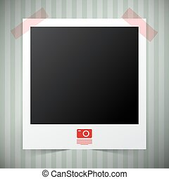 Empty Photo Film Frame with Camera Icon on Retro - Vintage Background Vector Illustration