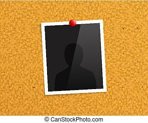 Empty photo frame pinned to a cork notice board with red push pin. Vector.