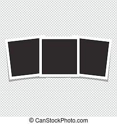 Empty photo frames on white background. Vector illustration