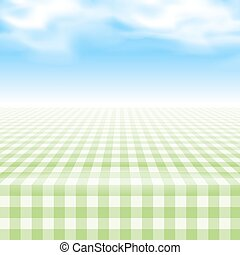 Empty picnic table, covered checkered tablecloth. - Empty...