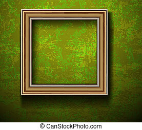 Empty Picture Frame on Grunge Wall
