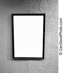 Empty picture frame on wall