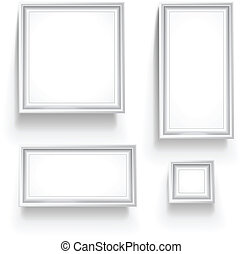Empty picture frames collection isolated on white