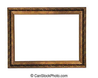 Empty picture gold frame with a decorative pattern