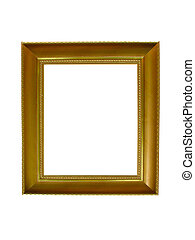 Empty picture gold frame with a decorative pattern isolated