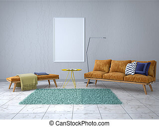 Empty picture on the wall in the modern interior. 3d illustration