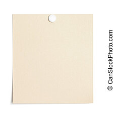 Empty piece of paper with thumb tack - Single piece of...