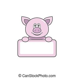 Empty pig frame for photo of child