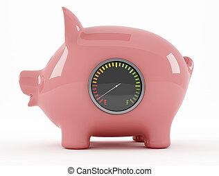 empty piggy bank with fuel gauge - rendering