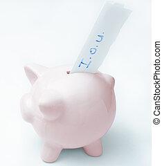 Empty Piggy Bank with IOU - A pink piggy bank with an I.O.U....