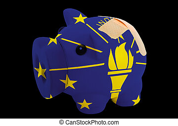 empty piggy rich bank in colors of flag of us state of indiana on black background