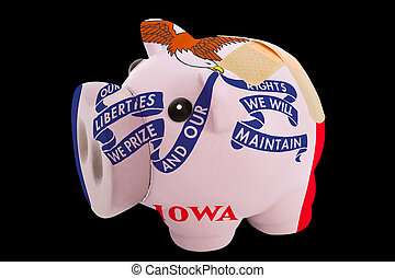 empty piggy rich bank in colors of flag of us state of iowa on black background