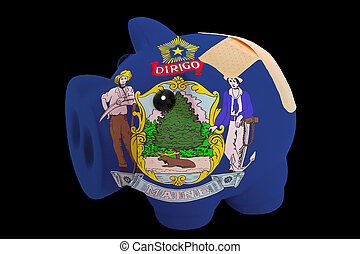 empty piggy rich bank in colors of flag of us state of maine on black background