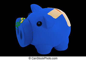 empty piggy rich bank in colors of flag of us state of nevada on black background