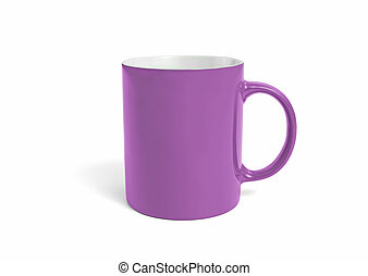 Empty pink mug with copy space on a white background