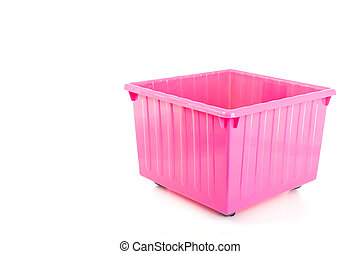 Empty pink plastic box isolated on white