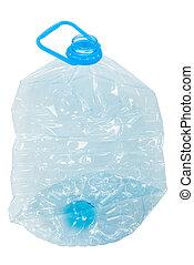 Empty plastic blue bottle  isolated on white background