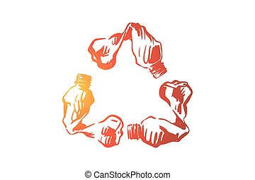 Empty plastic bottles in recycle emblem shape, environment protection, pollution prevention, nature preservation. Zero waste policy, garbage recycling concept sketch. Hand drawn vector illustration