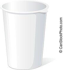 empty plastic container for yogurt - vector