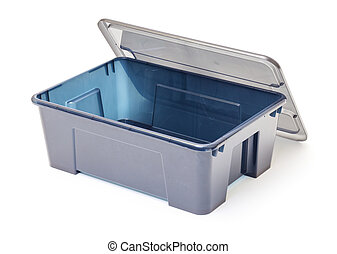 Empty Plastic Container with Lid on white background