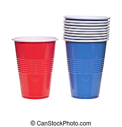 Empty red and blue plastic cups over a white background