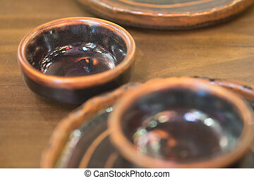 Empty plate and bowl in japan restaurant