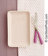 Empty plate and tray - Small empty pink plate on pink tray ...