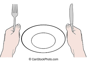 empty plate - illustration of hands with fork and knife and ...