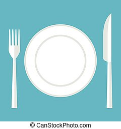 Empty plate, knife, fork