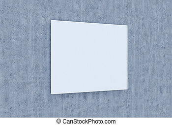 Empty plate on a concrete wall. 3D-rendering