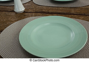 Empty plate on a placemat - Close-up of empty plate on a...