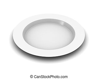 empty plate on a white background .3D illustration