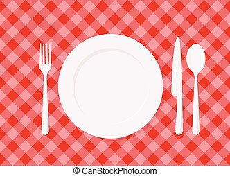 Empty plate on red checkered tablecloth