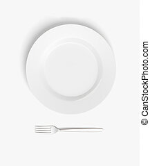 Empty plate on white table - Top view of empty plate and...
