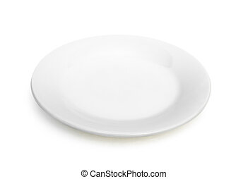 empty plate on white with clipping path