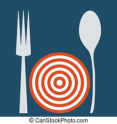 Empty plate target with spoon and fork.