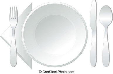 empty plate, vector - empty white plate with spoon, knife...