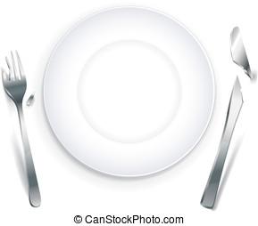 Empty plate with broken cutlery
