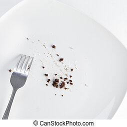 Empty plate with crumbs - Overhead view of plate and fork ...