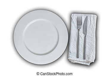 Empty plate with cutlery isolated concept