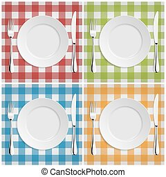 Empty plate with fork and knife at classic checkered tablecloth. Vector EPS10 set.