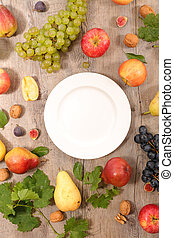 empty plate with fruit and vegetable around