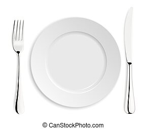 Empty plate with knife and fork.