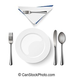 Empty plate with spoon knife and fork template