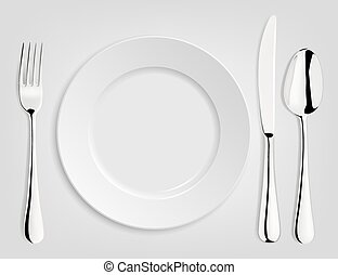 Empty plate with spoon, knife and fork.