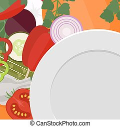 Empty plate with vegetables.
