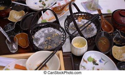Empty plates and cups after meal in a japanese restaurant. concept of a zero food waste concept.