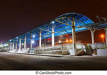 platform on the railway station at night - empty platform on...